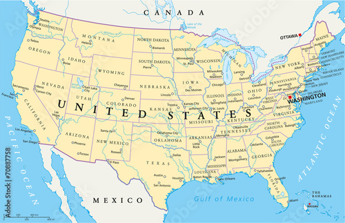 United States of America Political Map with single states ...