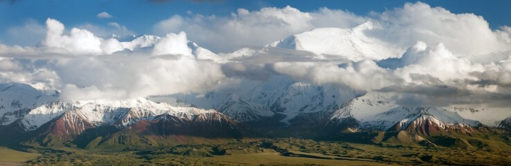 Panoramic view of Lenin Peak from Alay range