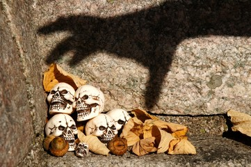 Skulls trapped by a shadow hand.