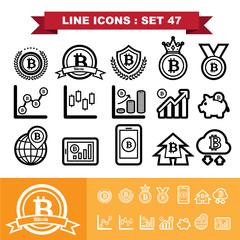 Bitcoin Line icons set 47