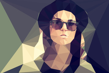 Wall Mural - Woman portrait vector geometric modern illustration