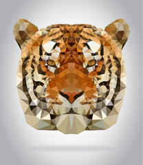 Wall Mural - Tiger head vector isolated geometric illustration