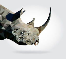 Wall Mural - Rhino head vector geometric modern illustration