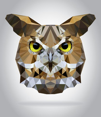 Wall Mural - Owl head vector isolated geometric illustration