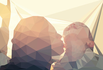 Wall Mural - Mom and child portrait vector geometric illustration