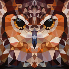 Wall Mural - Owl head vector background geometric illustration