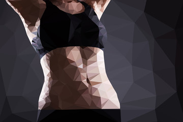 Wall Mural - Fitness woman belly vector geometric modern illustration