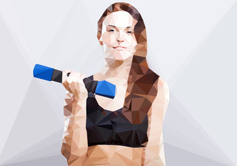 Wall Mural - Fitness woman vector geometric modern illustration