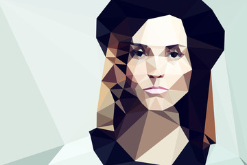 Fotoväggar - Fashion woman portrait vector geometric modern illustration