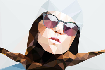 Wall Mural - Fashion woman portrait vector geometric modern illustration