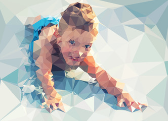 Fotoväggar - Child portrait vector geometric modern illustration