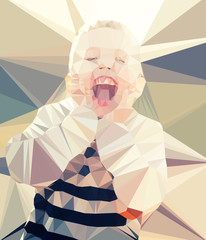 Wall Mural - Child boy portrait vector geometric modern illustration