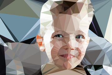 Klistermärke - Child boy portrait vector geometric modern illustration
