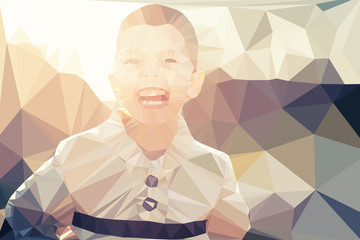 Fotoväggar - Child boy portrait vector geometric modern illustration