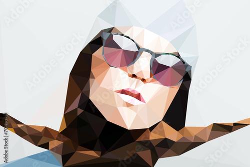 Wall mural Fashion woman portrait vector geometric modern illustration
