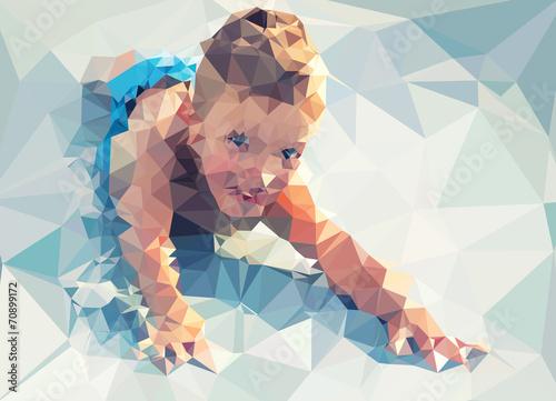 Wall mural Child portrait vector geometric modern illustration