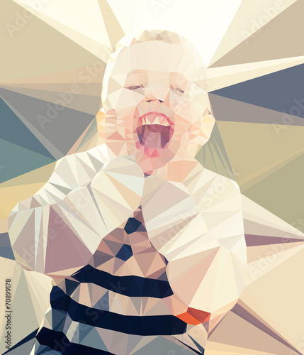 Wall mural Child boy portrait vector geometric modern illustration