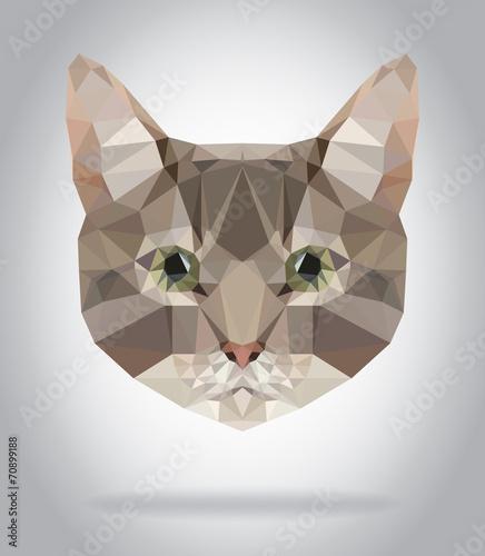 Wall mural Cat head vector isolated, geometric modern illustration