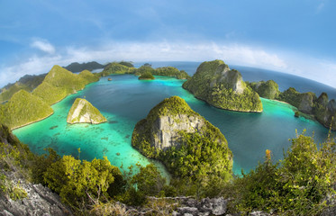 Papiers peints Indonésie Wayag Islands of Raja Ampat (Fish eye Version)