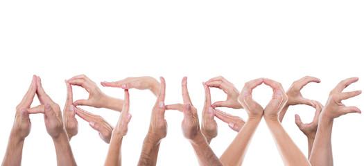 Viele Hände formen das Wort Arthrose