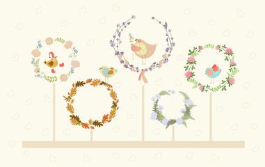 cute vector floral wreaths and birds
