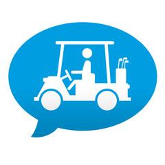 Etiqueta tipo app comentario carro de golf