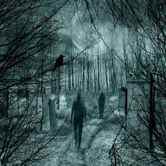 Ghosts come out of the graves in the old cemetery with full moon