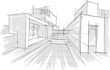 рисунок интерьера здания