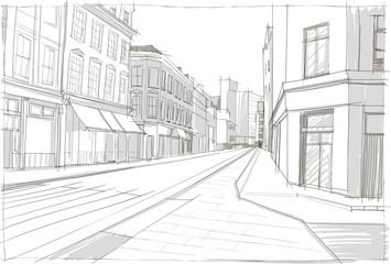 архитектурный эскиз улицы