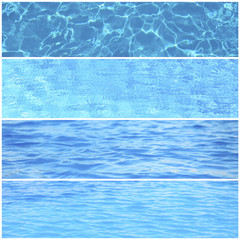 Collage of photos with water waves in swimming pool