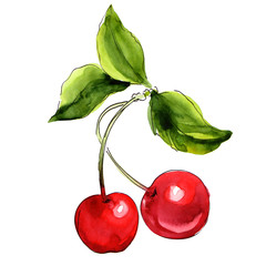 Ripe red cherry berries with leaves