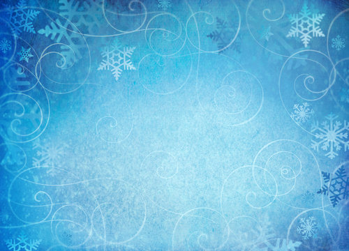 Snowflake background with whimsical swirls.