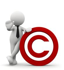 omino bianco con simbolo copyright