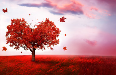 Zelfklevend Fotobehang Lichtroze Autumn landscape with heart shape tree