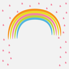 Rainbow and pink heart rain. Flat design style.