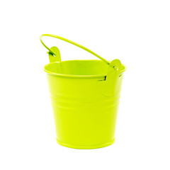 Decorative floral green bucket on a white background.