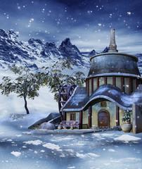 Zimowa sceneria z chatką w górach