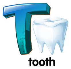 A letter T for tooth