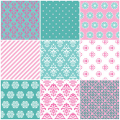 Seamless pattern set - damask, arabic, floral, striped.