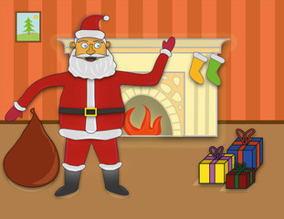 Santa Claus near the fireplace