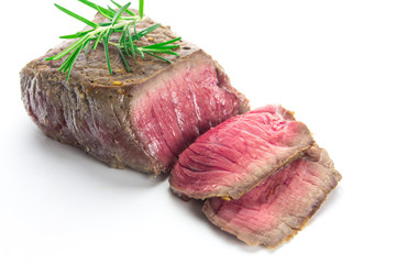 grilled fillet steak on white