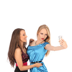 portrait of two beautiful girls making selfies