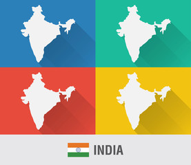 Wall Mural - India world map in flat style with 4 colors.