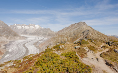 Bettmeralp, Dorf, Bettmerhorn, Bergstation, Gletscher, Schweiz