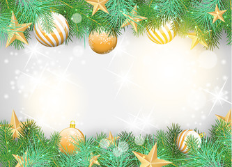 Christmas background with yellow ornaments and branches