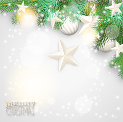 Christmas background with branches and white ornaments