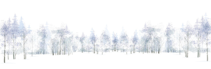 Vector winter scene with  forest background isolated on white. Wall mural