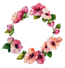 hand painted watercolor wreath. Flower decoration.