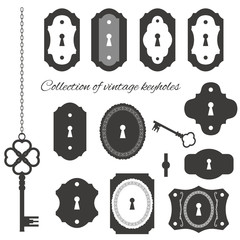 Vintage keyholes and keys set.