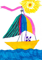 Multicolored fairy-tale ship in the blue sea. Kid's drawing